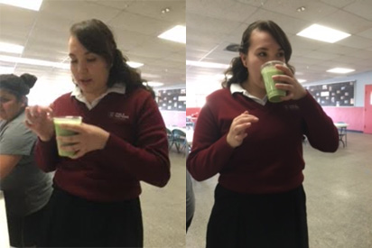 (left) Esmeralda trying to drink the TropiKale smoothie, setting her fears aside. (right) Esmeralda tries the Tropikale smoothie and she likes it.