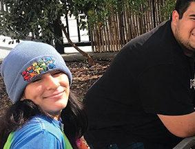 Gloria Sanchez (blogger) and Eddie Arriaza in their garden at Leuzinger High School