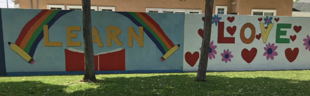 """First Graders' """"Love"""" and """"Learn"""" Murals"""